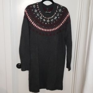 J crew sweater dress with jeweled neck detailing